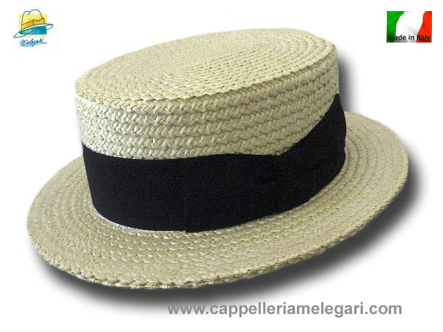 Melegari Boater Straw Hat hand made in Italy
