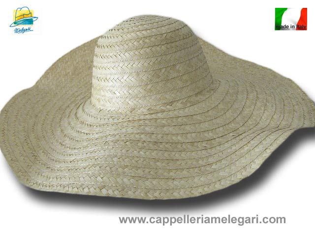 Palm straw woman large brim hat Taormina 2