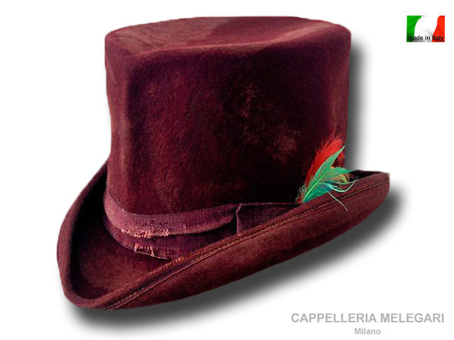 Cappello a cilindro Dandy Aged Western Bordò