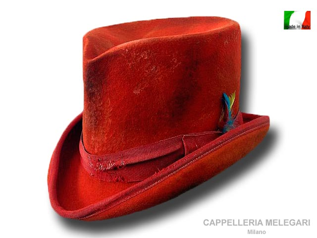 Cappello a cilindro Dandy Aged Western Rosso
