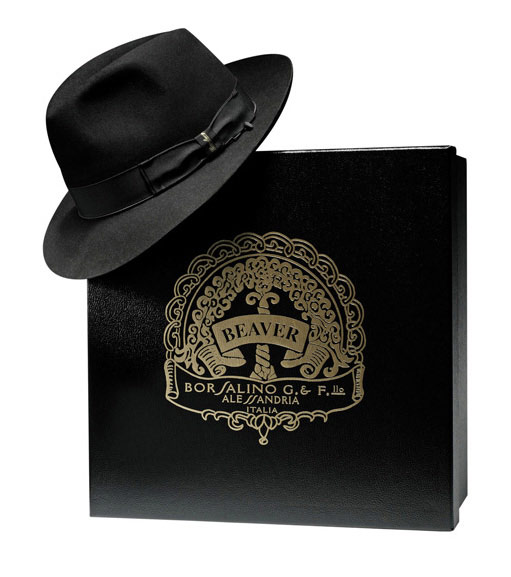 Borsalino Fedora Beaver hat with hatbox Black