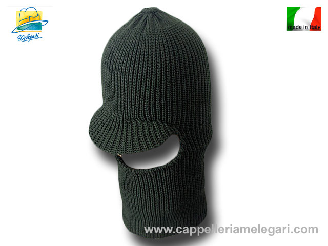 Beanie Balaclava mixed wool hat Green