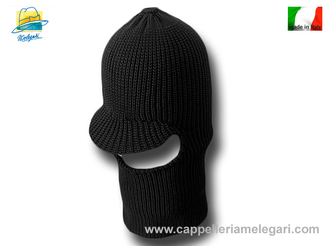 Beanie Balaclava mixed wool hat Black