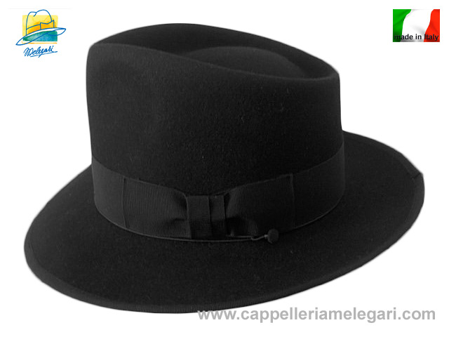 Melegari Cappello Fedora Johnny Depp Top Quality Nero