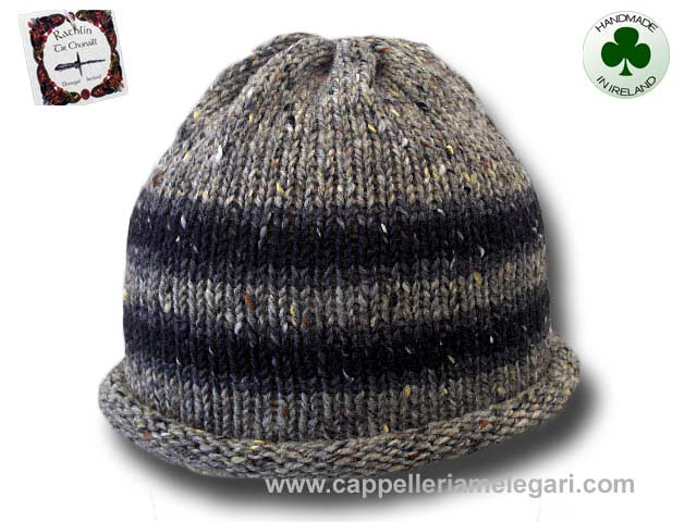 Beanie natural Irish Donegal yarn striped 01
