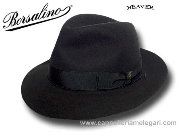 Borsalino Fedora  Beaver hat with hatbox Dark