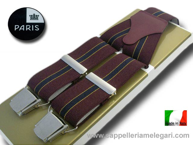 Paris Suspenders wide men Regimental Dark red