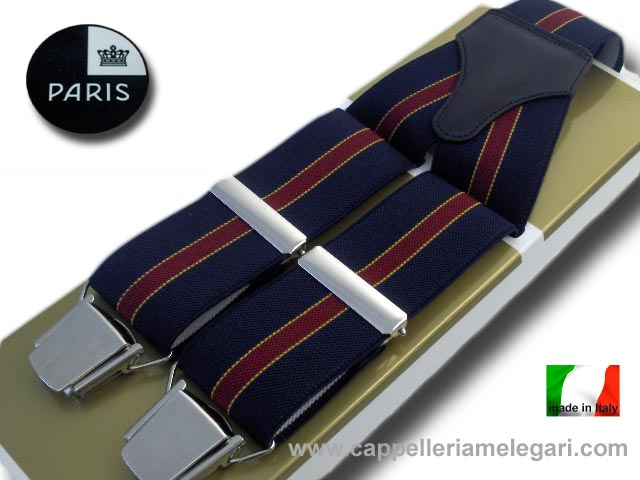 Paris Suspenders wide men Regimental Blue