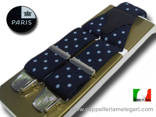 Braces wide men's Paris Dots Light blue