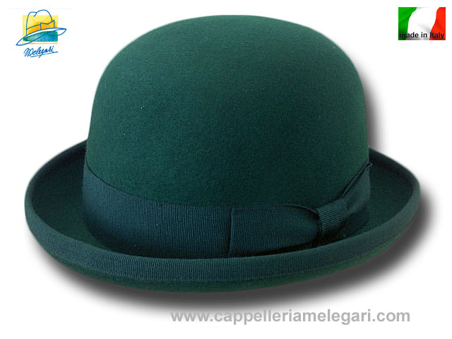 Green wool bowler hat