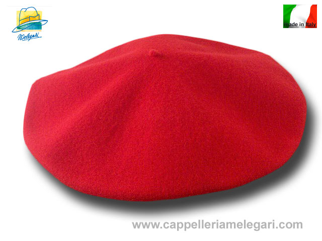 Unisex beret  basque wool flat 32cm red