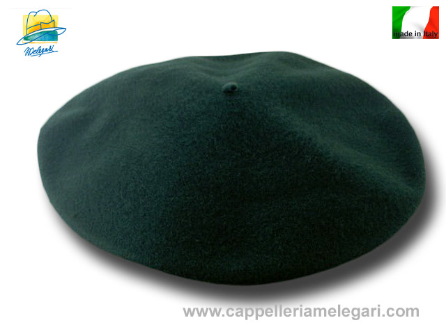 Unisex beret  basque wool flat 32cm green