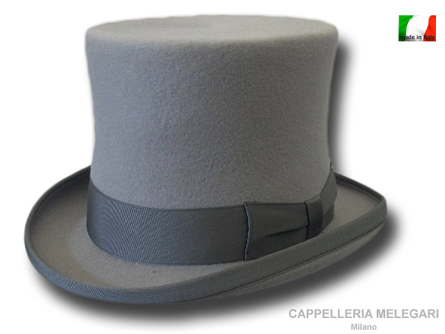High Wool Merino Quality Top Hat Grey ribbon