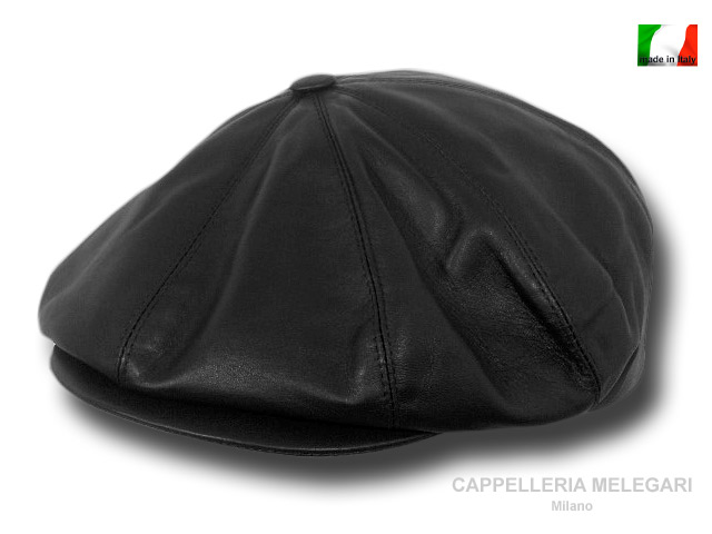 Real leather Gatsby  Belfast cap black
