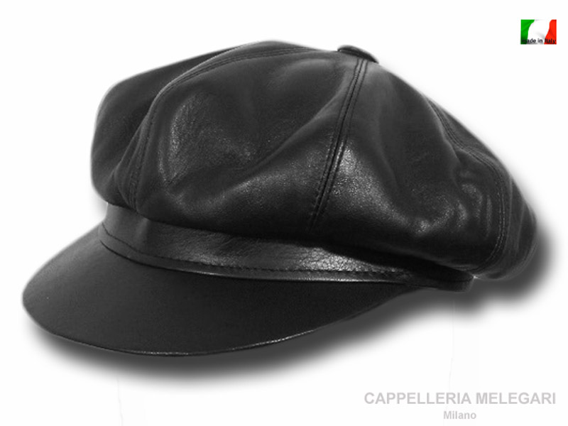 Real leather Bikers cap by Melegari