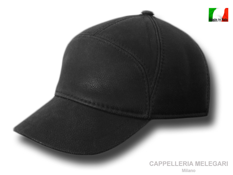 Cap Baseball Bugatti real leather Black