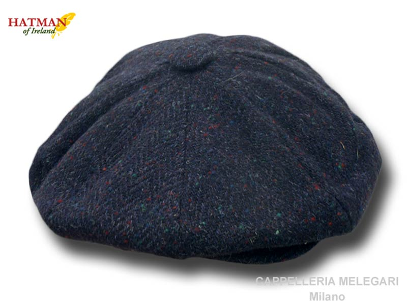 Hatman of Ireland Irischen Donegal Tweed Gatsby cap Blau
