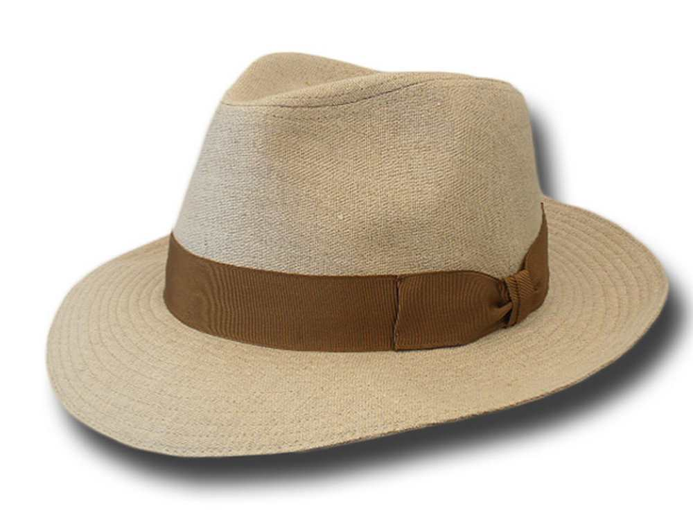 Melegari linen Bogart Hat ribbon light brown