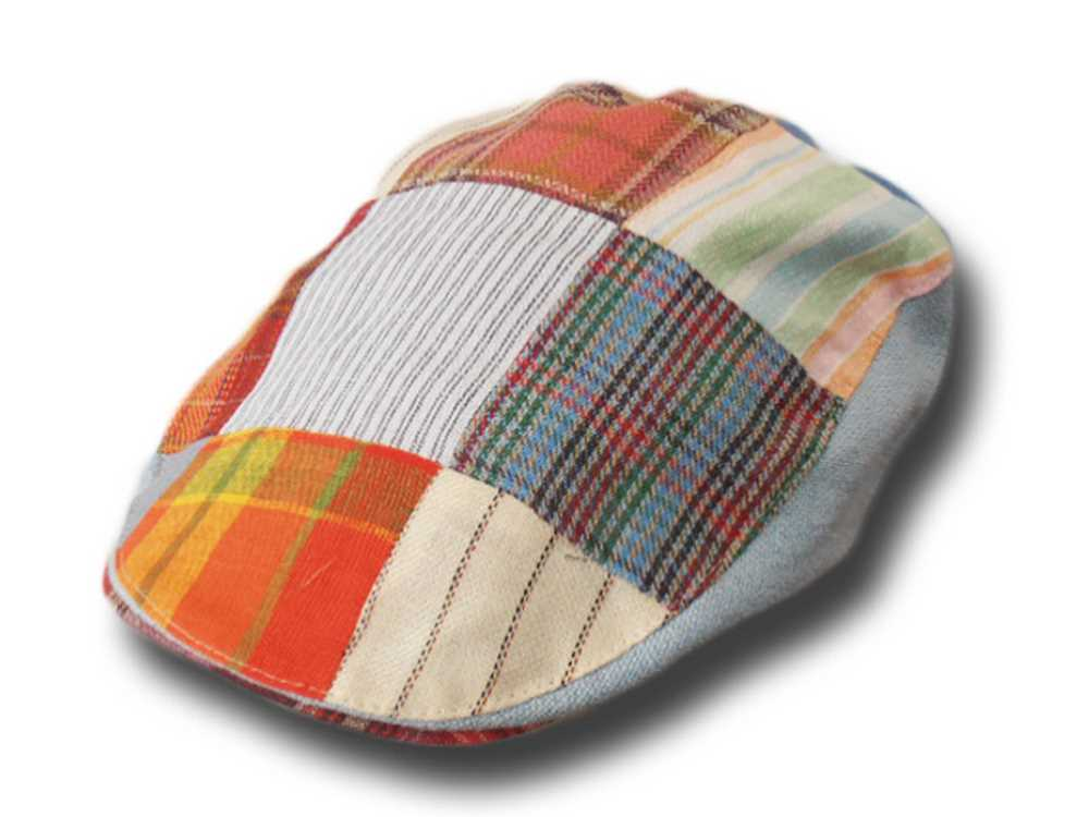 Hanna Hats Berretto piatto patchwork in lino T