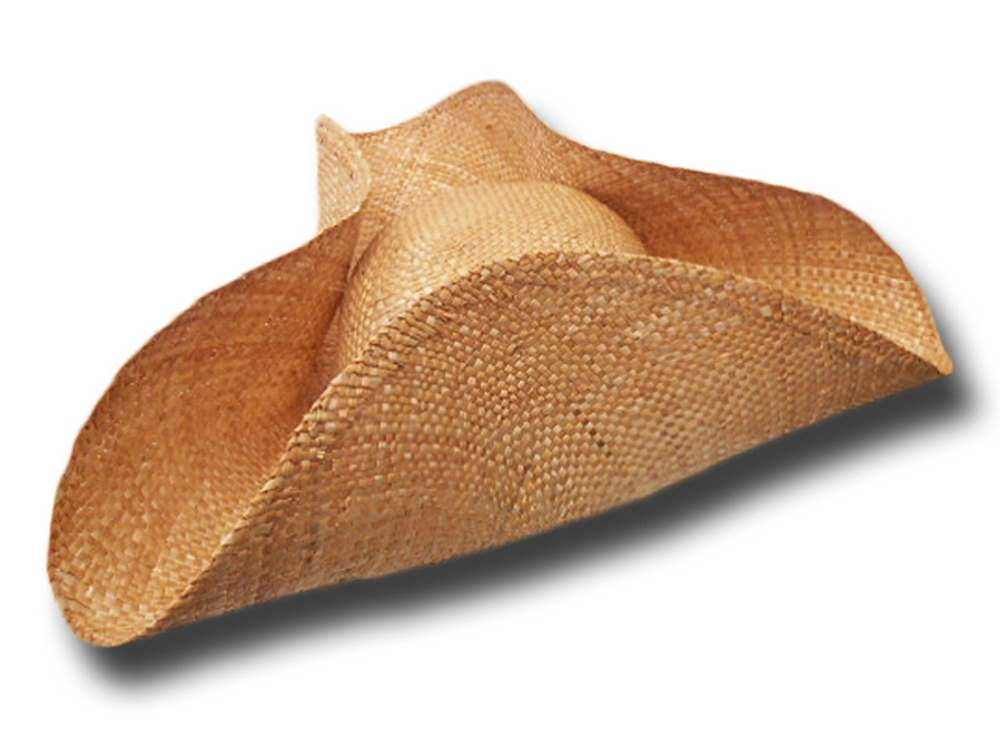 Tricorn natural wheat straw hat Wide brim