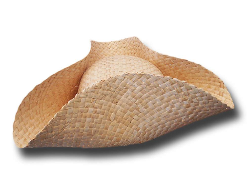 Tricorn natural straw hat
