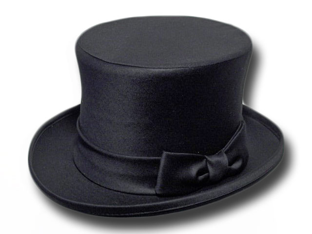 Top Hat Top quality satin black wedding
