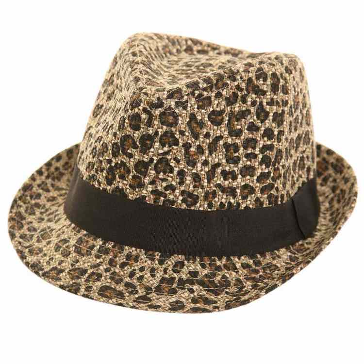 Animal print Trilby hat by Hawkins 02