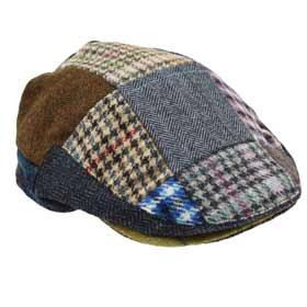 John Hanly Casquette plat en laine Patchwork Tweed