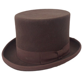 Melegari Brown Wool Felt Top Hat