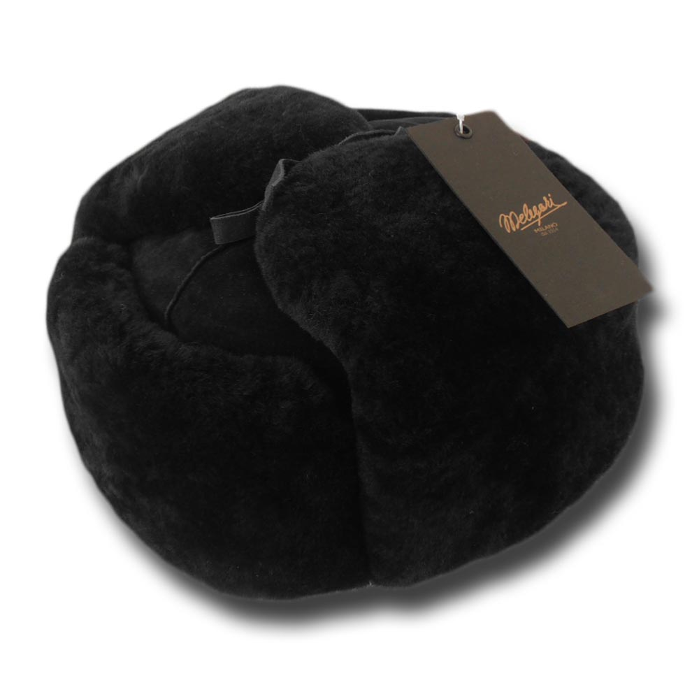 Ushanka sheepskin fur hat Black