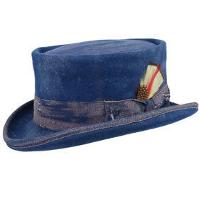 Cappello a cilindro Western Desert Rat Aged Top Hat Blu royal