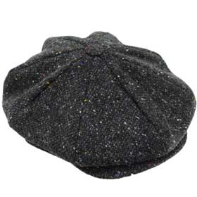 Hanna Hats Connery Gatsby tweed Cap 8 pieces Dark grey