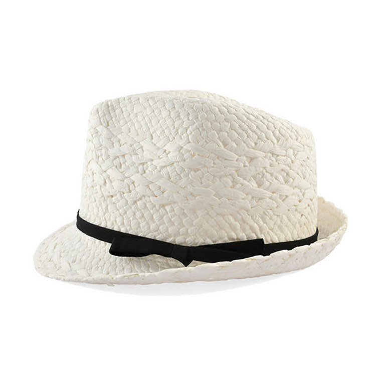 "Cappello donna estivo ""cheap but works"" trilby Bianco"