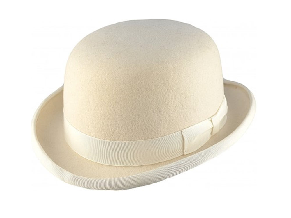 Major Woolfelt bowler Derby hat White