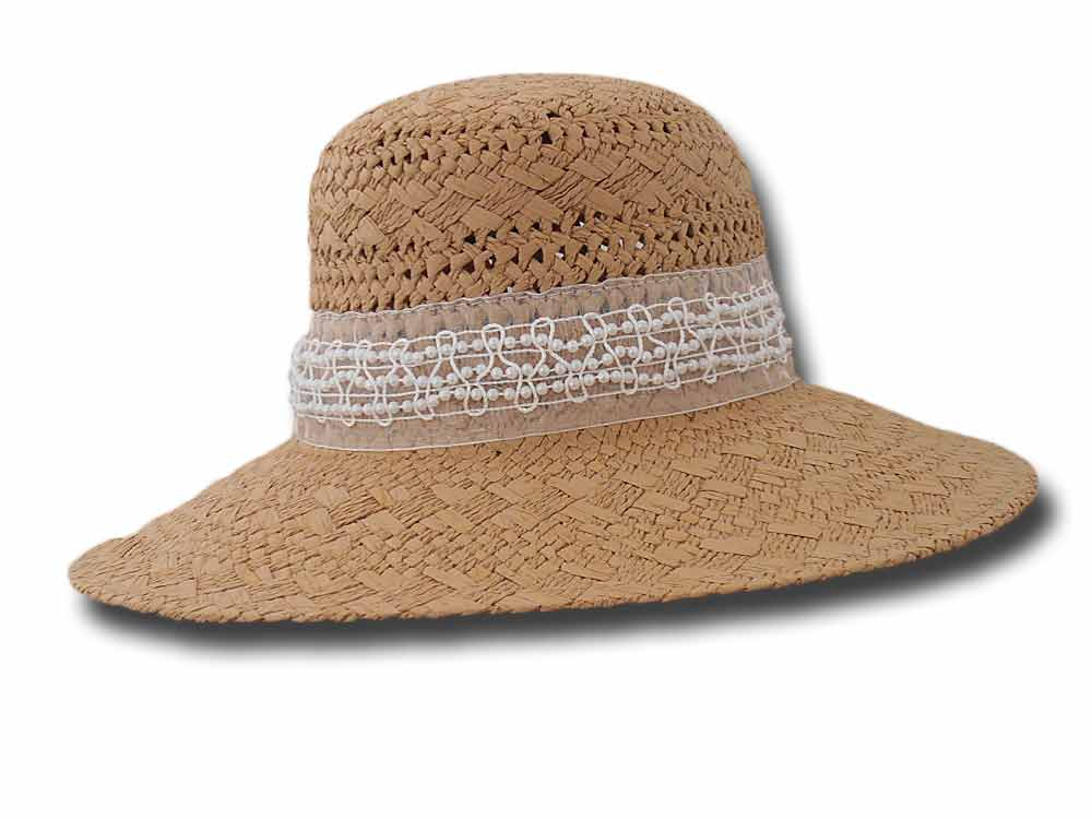Complit Summer woman hat Pamela ribbon white p