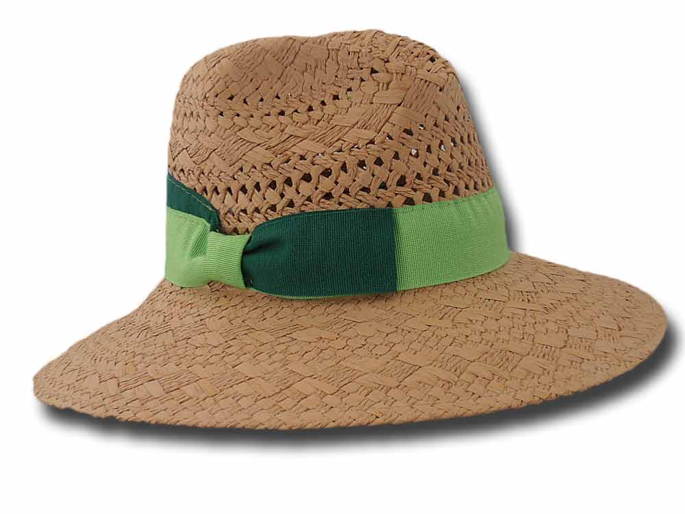 Melegari Summer woman hat Venditti green ribbo