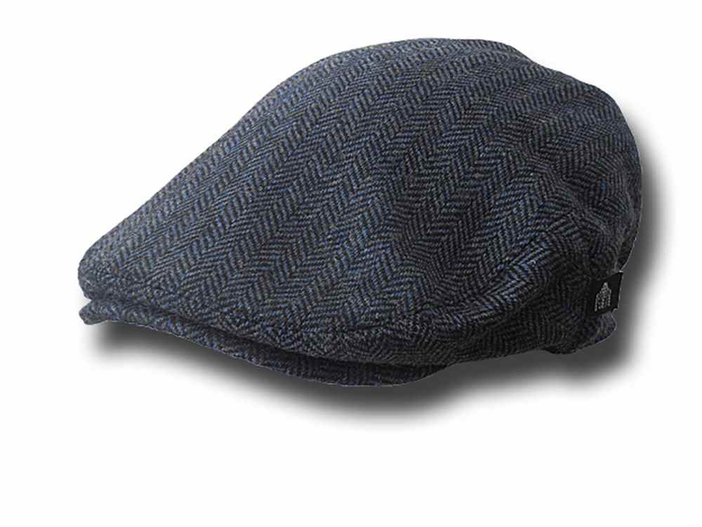 Shandon County  Fishbone flat cap Blue
