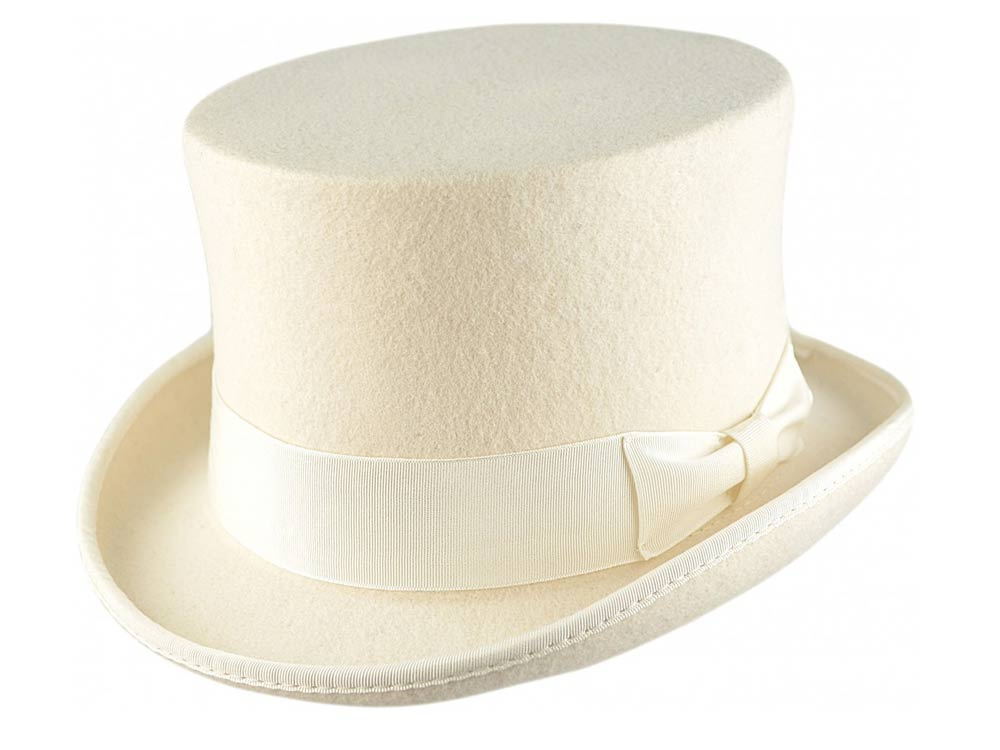 Wool Top Hat Premium Quality White